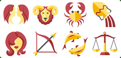 Flat Zodiac Icon Set