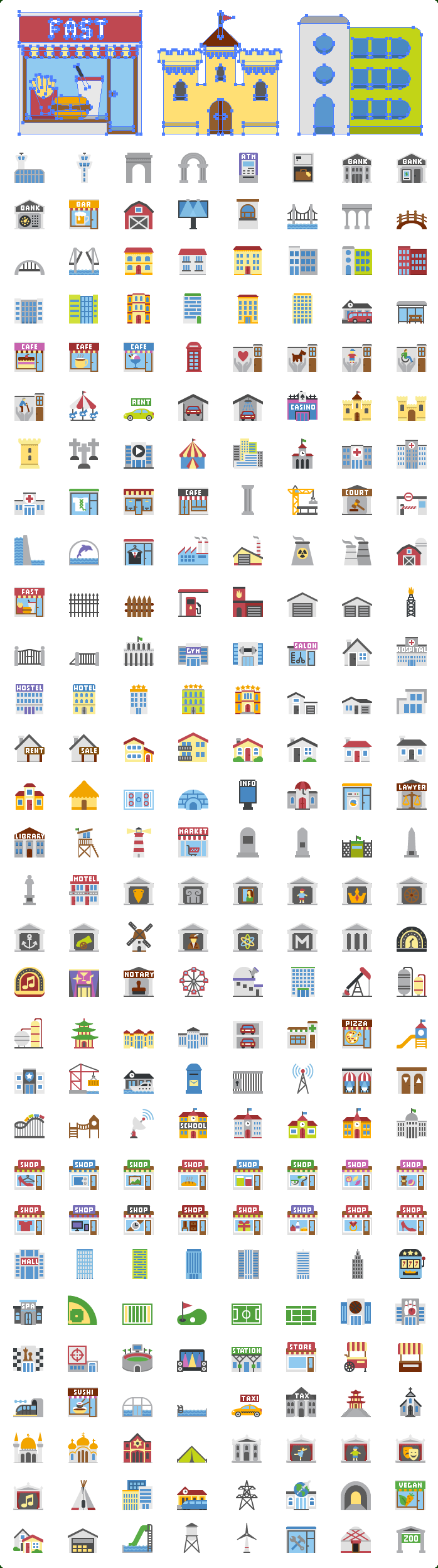 Vector Flat Buildings Icons