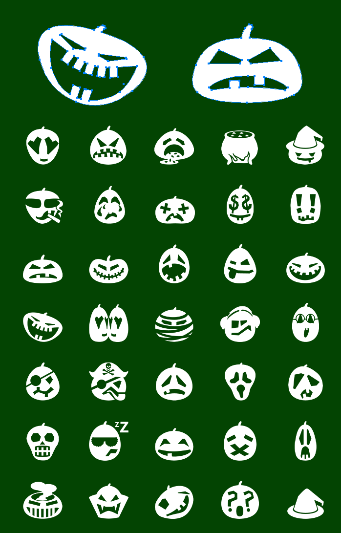 Icons preview of Metro Halloween Pumpkin Vector Emoticons