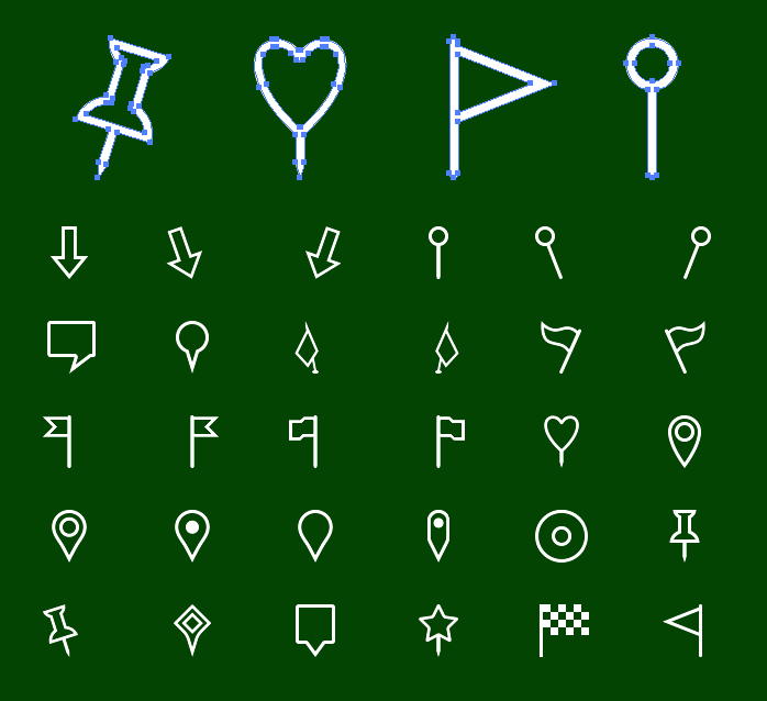 Vector Metro Map Markers Icons - Outline icons