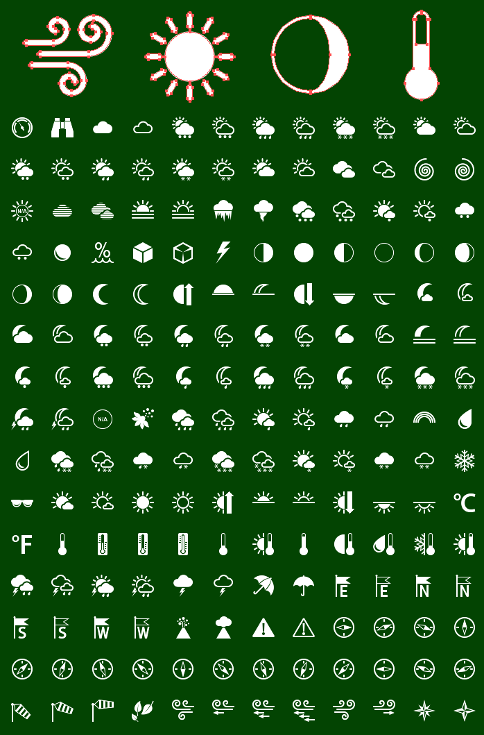 Icons preview of Metro Weather Vector Icons