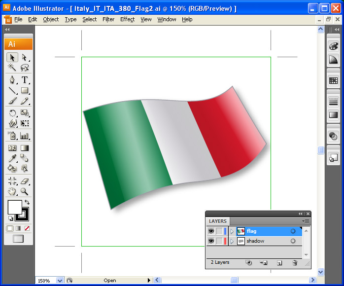 Flags Vector Icons - one icon in Adobe Illustrator