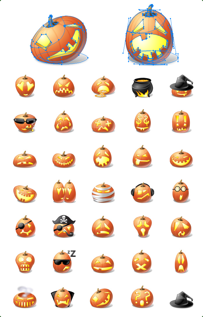 Icons preview of Vector Halloween Pumpkin Emoticons