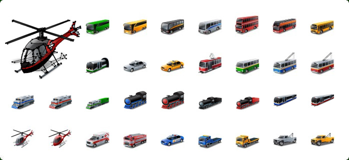 Public Transport Vector Icons, Rail Transport Vector Icons, Train Vector Icon, Emergency Vehicles Vector Icons, Police Car Vector Icon