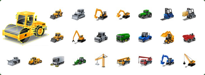 Heavy Equipment Vector Icons, Construction Vector Icons