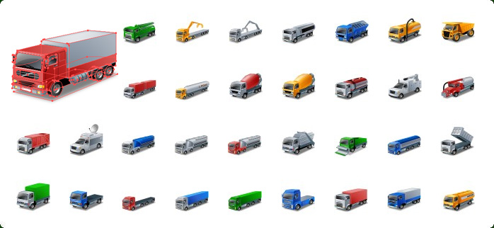 Trucks Vector Icons, Delivery Truck Vector Icon, Shipping Truck Vector Icon, Semi Truck Vector Icon, Pickup Truck Vector Icon, Moving Truck Vector Icon