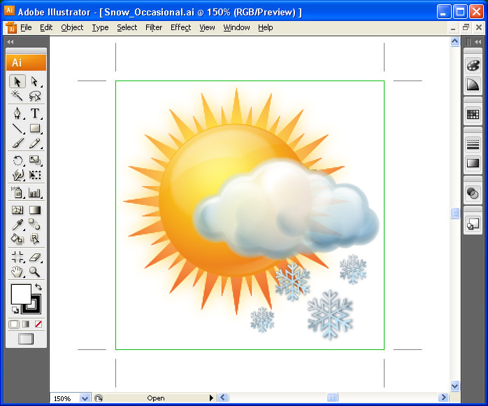 Weather Vector Icons - one icon in Adobe Illustrator