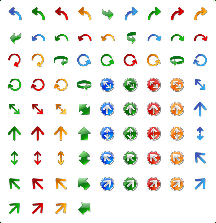 Vista Style Arrow Icons Set with Custom Icon Design Service