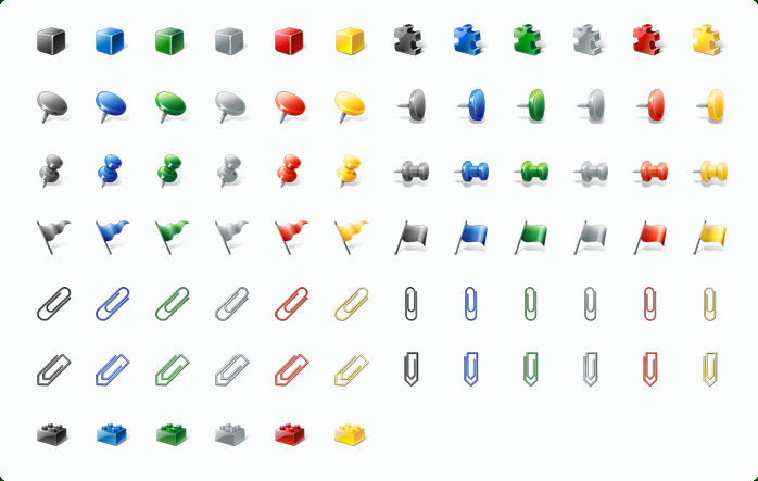 Paper Clip Icons, Drawing Pins Icons, Blocks