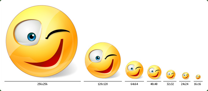 Emoticons - One icon in all sizes: 16x16, 24x24, 32x32, 48x48, 64x64, 128x128, 256x256