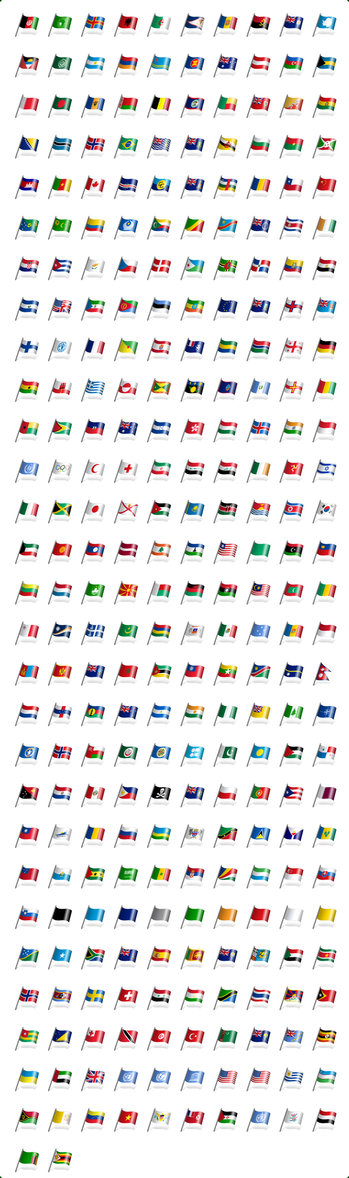 Vista Style Flags Icons Set Screenshot