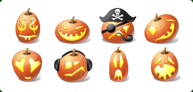 Vista Style Halloween Pumpkin Emoticons in nine sizes from 16x16 to 512x512
