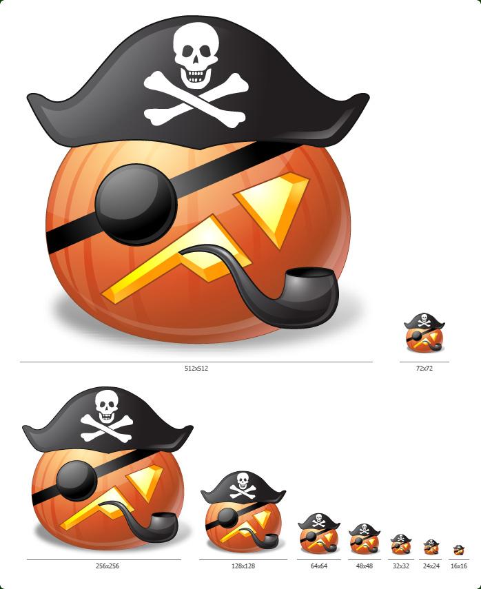 Halloween Pumpkin Emoticons - One icon in all sizes: 16x16, 24x24, 32x32, 48x48, 64x64, 128x128, 256x256