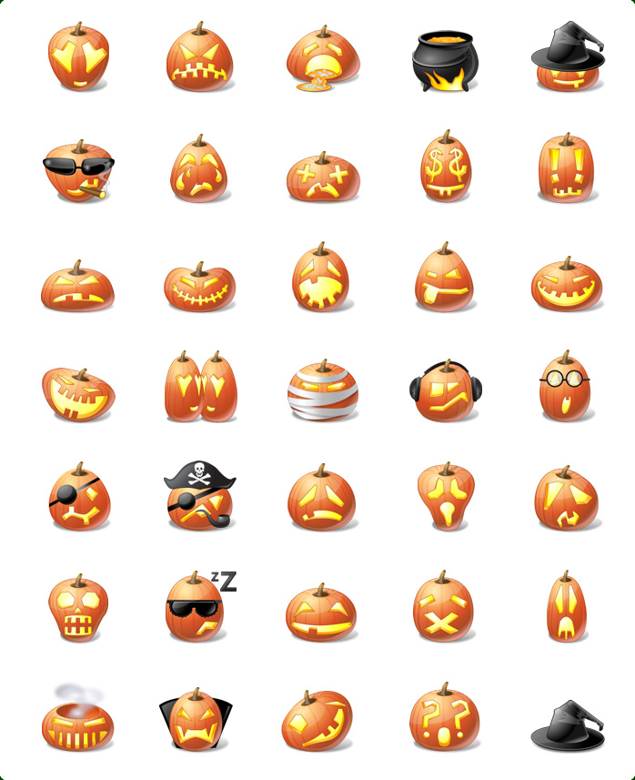 Icons preview of Vista Style Halloween Pumpkin Emoticons