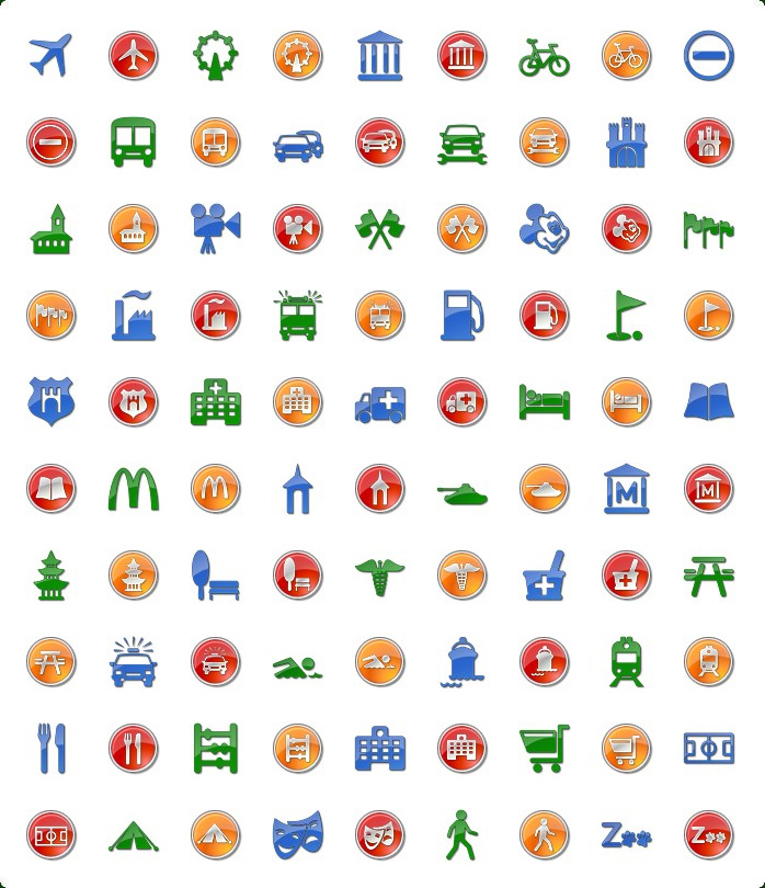 Custom Google Maps Icons. Icons preview of Vista Style