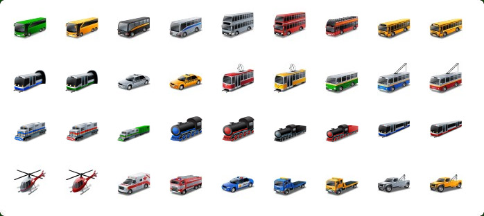 Public Transport Icons, Rail Transport Icons, Train Icon, Emergency Vehicles Icons, Police Car Icon