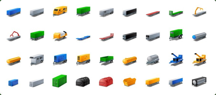 Trailers Icons, Containers Icons