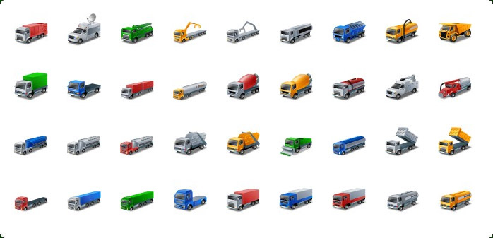 Trucks Icons, Delivery Truck Icon, Shipping Truck Icon, Semi Truck Icon, Pickup Truck Icon, Moving Truck Icon