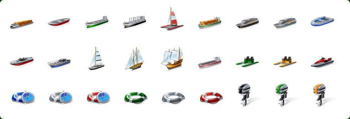 Cruise Ship Vector Icon, Cargo Ship Vector Icon, Sail Ship Vector Icon, Watercrafts Icons, Watercraft Equipment Icons
